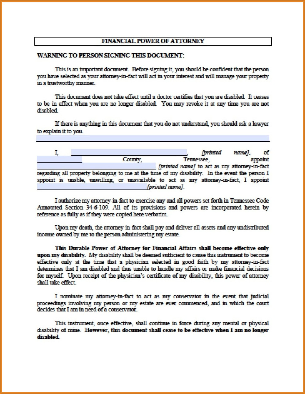 Free Printable Power Of Attorney Forms For Tennessee