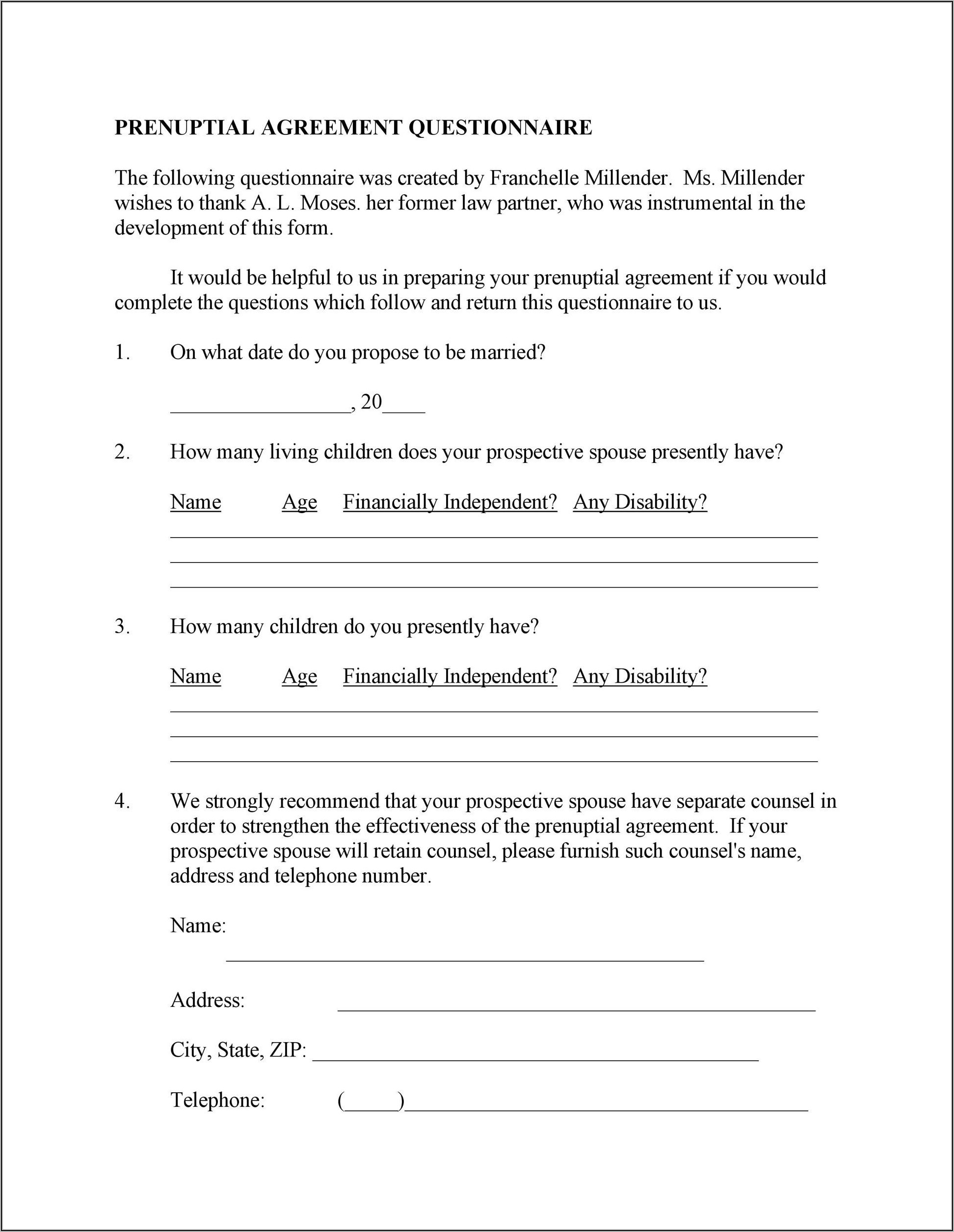 Free Printable Prenuptial Agreement Form Texas