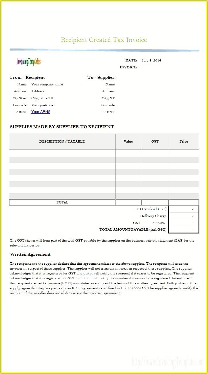 Free Printable Tax Invoice Template Australia