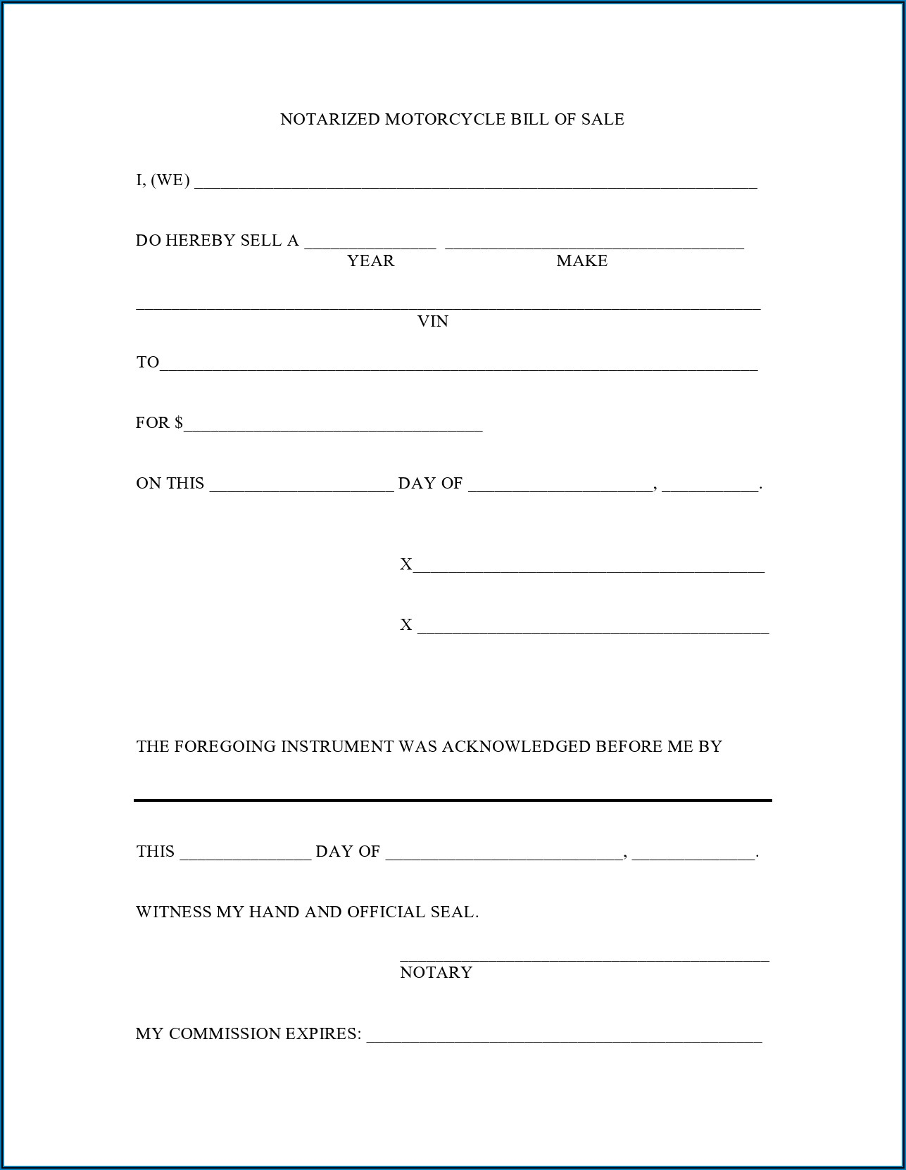 Free Printable Texas Bill Of Sale Form For Trailer