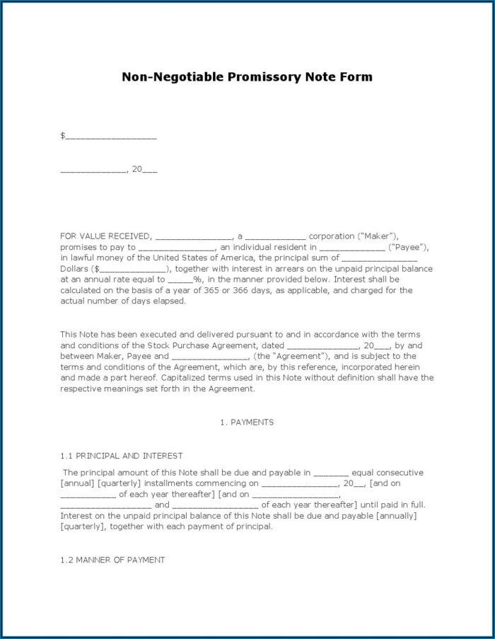 Free Promissory Note Form Pdf