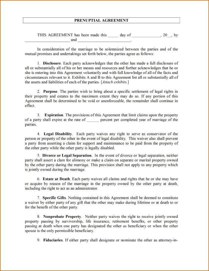 Free Simple Prenuptial Agreement Form