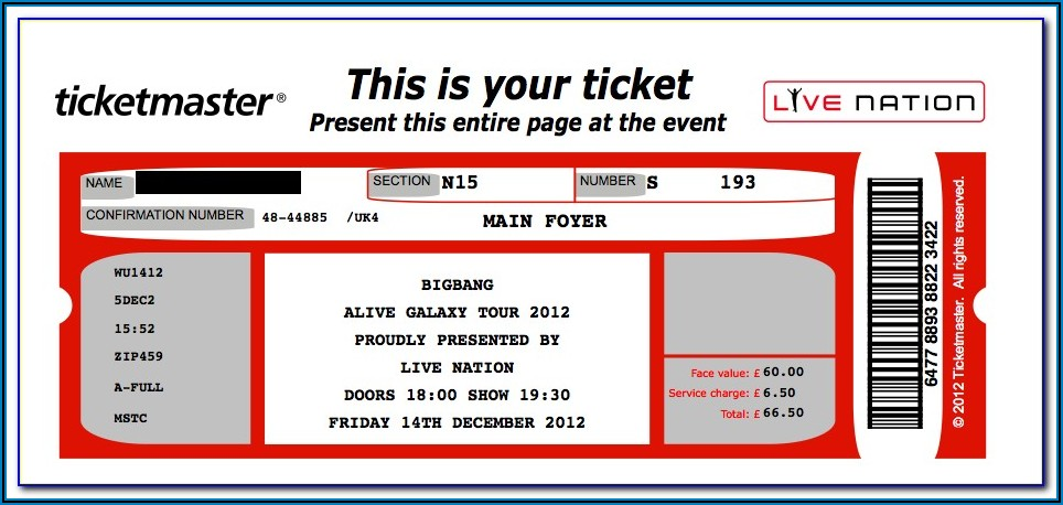 Free Template For Concert Tickets