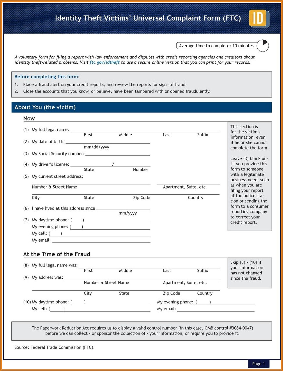 Ftc Identity Theft Report Template