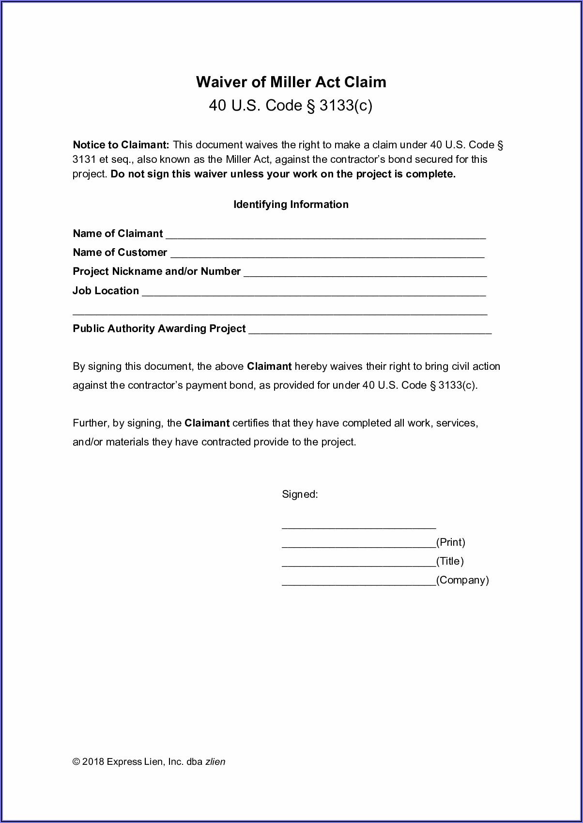 Generic Covid Waiver Form