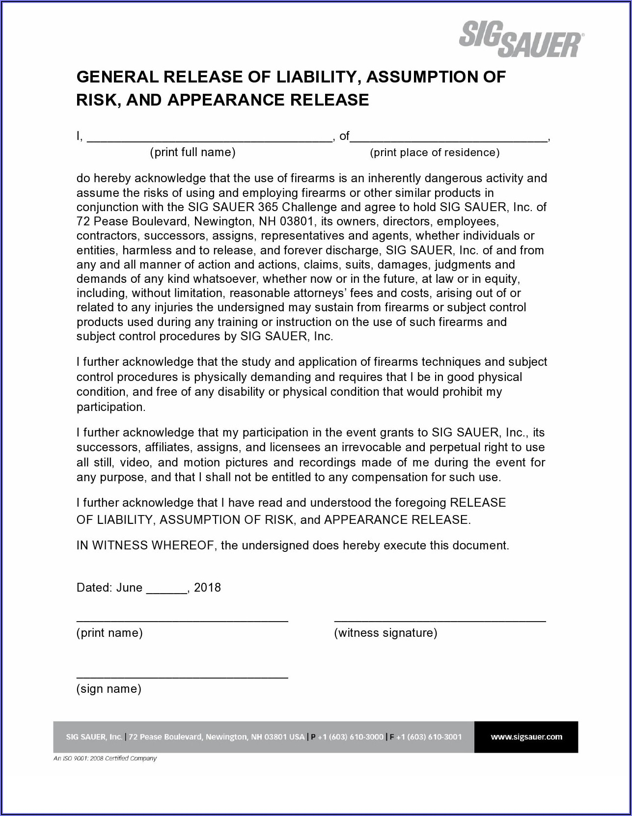 Generic Injury Waiver Form