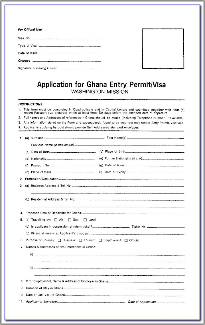 Ghana Visa Application Form Canada