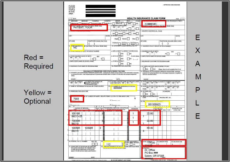 Health Insurance Claim Form 1500 Instructions
