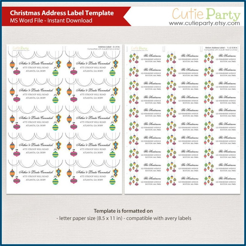 Holiday Address Labels Templates
