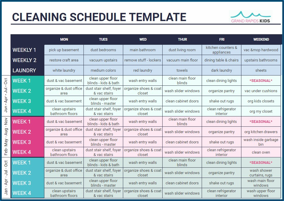 Home Cleaning Schedule Template