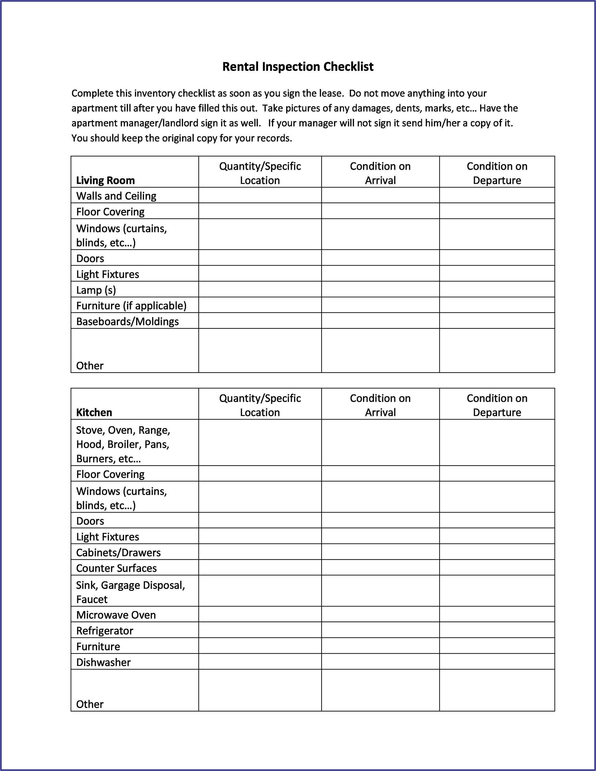 Home Inspection Checklist Forms Free