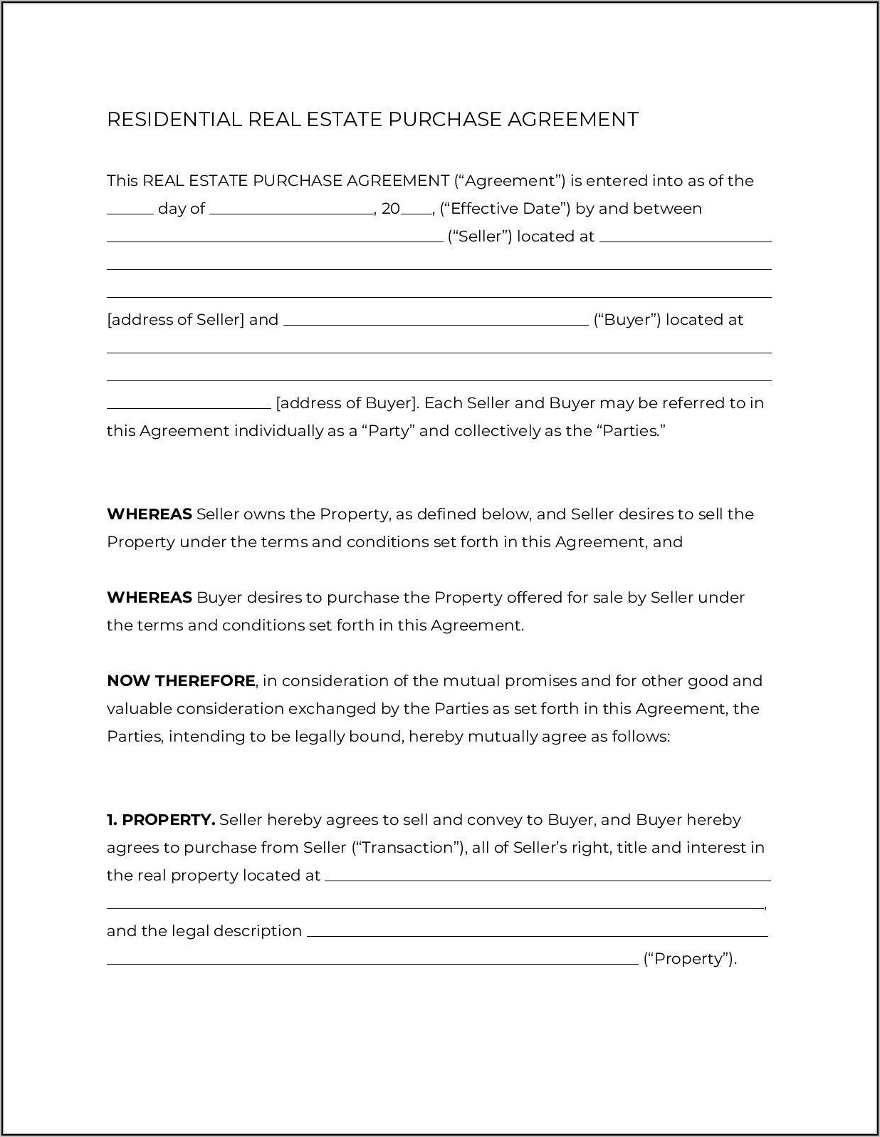 House Sale Contracts Forms