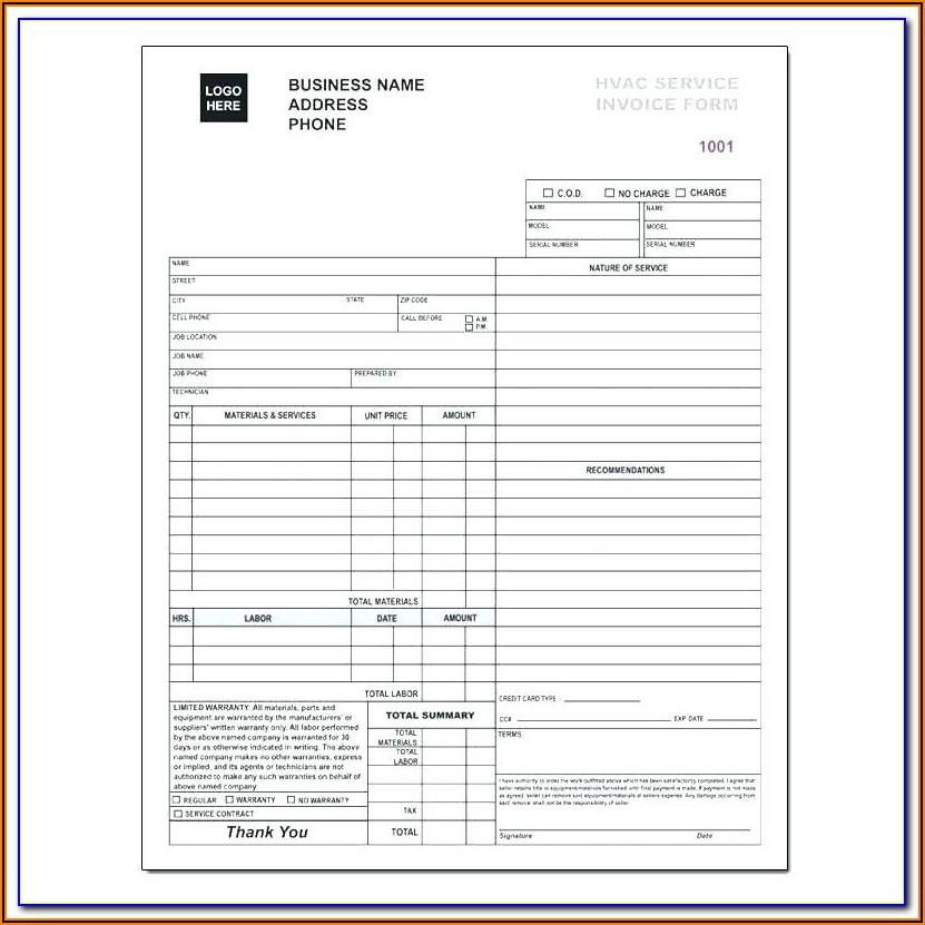 Hvac Service Forms Templates