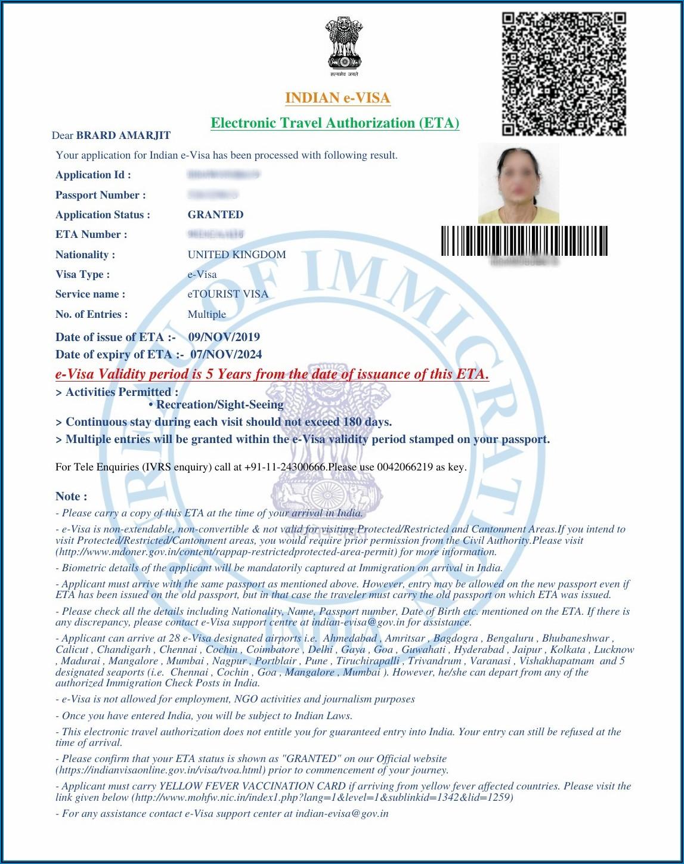 Indian Visa Application Form Canada