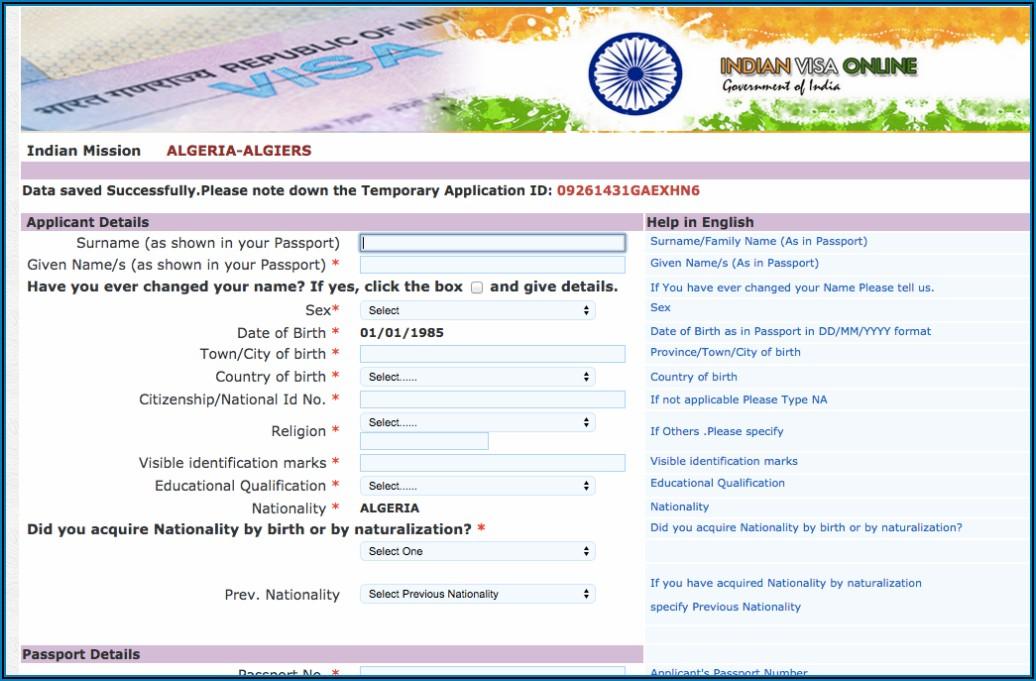 Indian Visa Application Form
