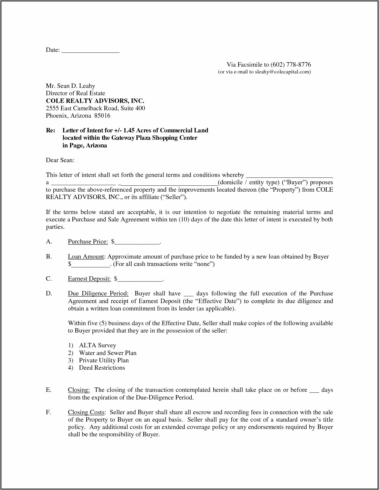 Intent To Purchase Real Estate Form