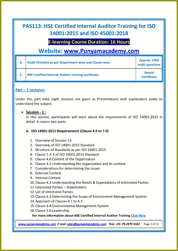 Iso 14001 Internal Audit Report Template