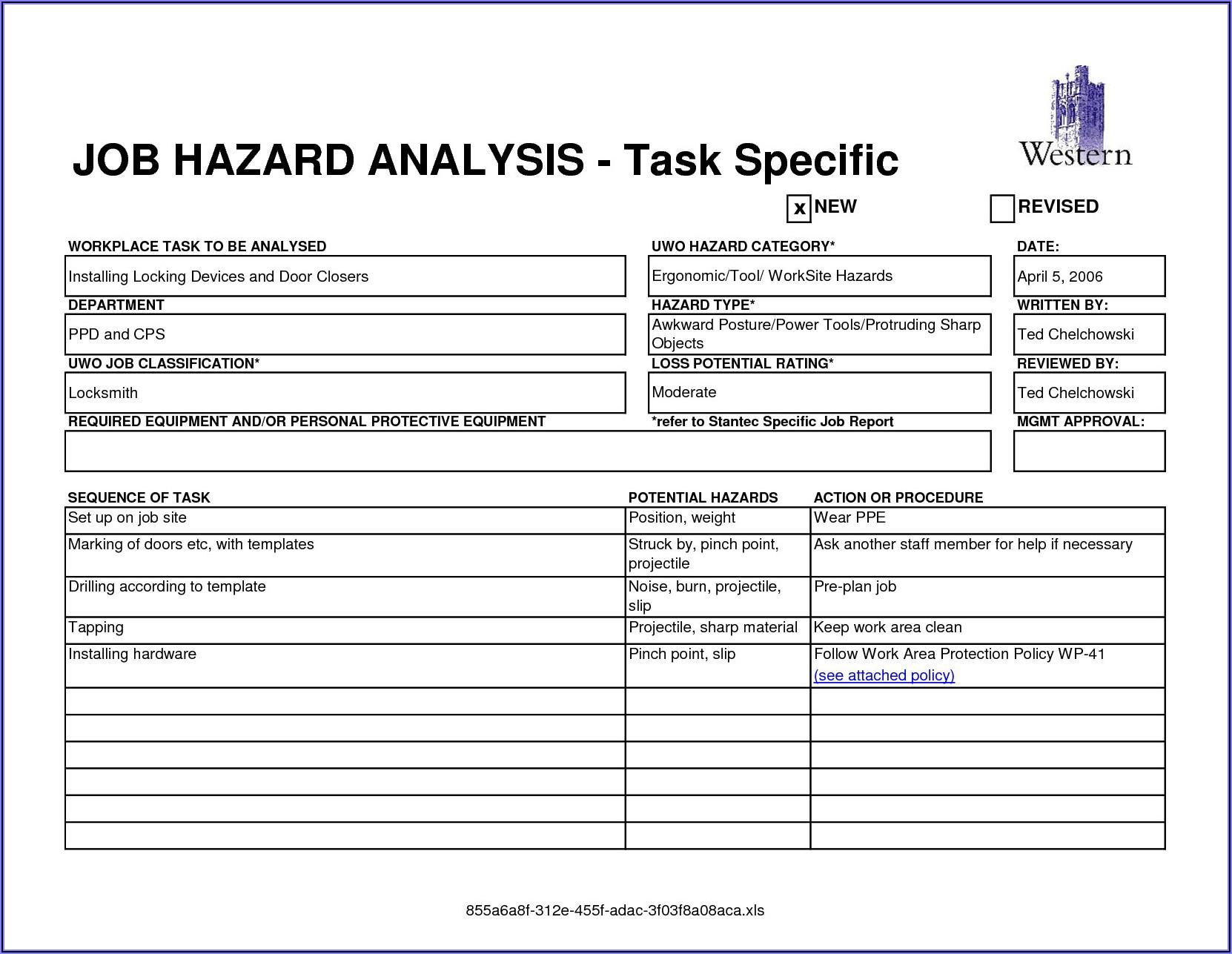 Job Hazard Analysis Template For Construction
