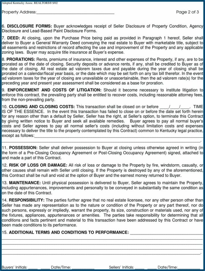 Kentucky Real Estate Purchase Contract Form