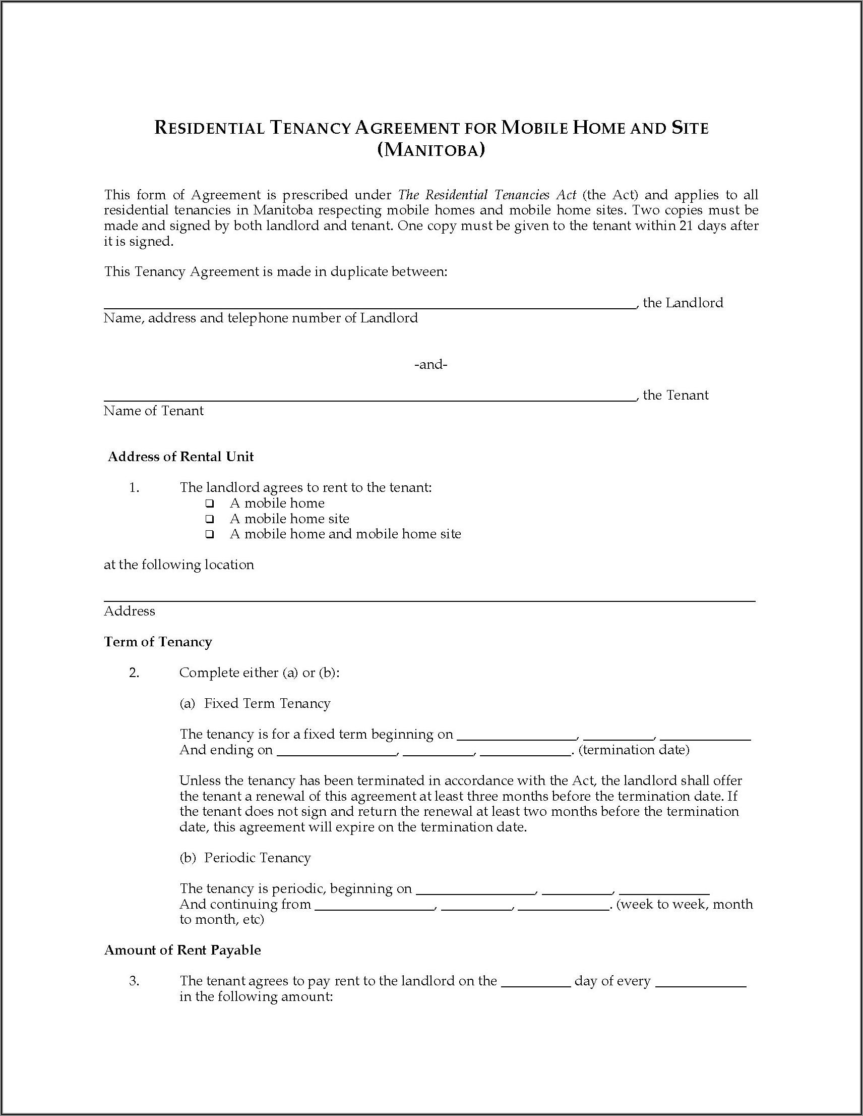 Land Rental Agreement Template Manitoba