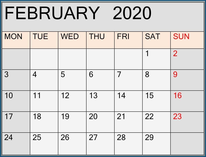 Large Print Calendar Template 2020