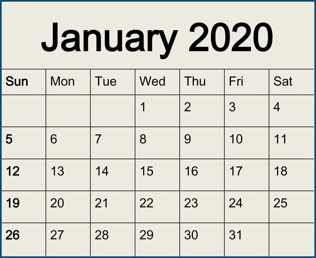 Large Print Calendar Template 2021