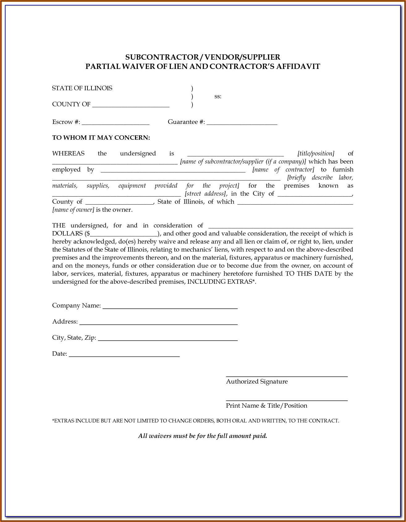 Lien Waiver Form Mn Free