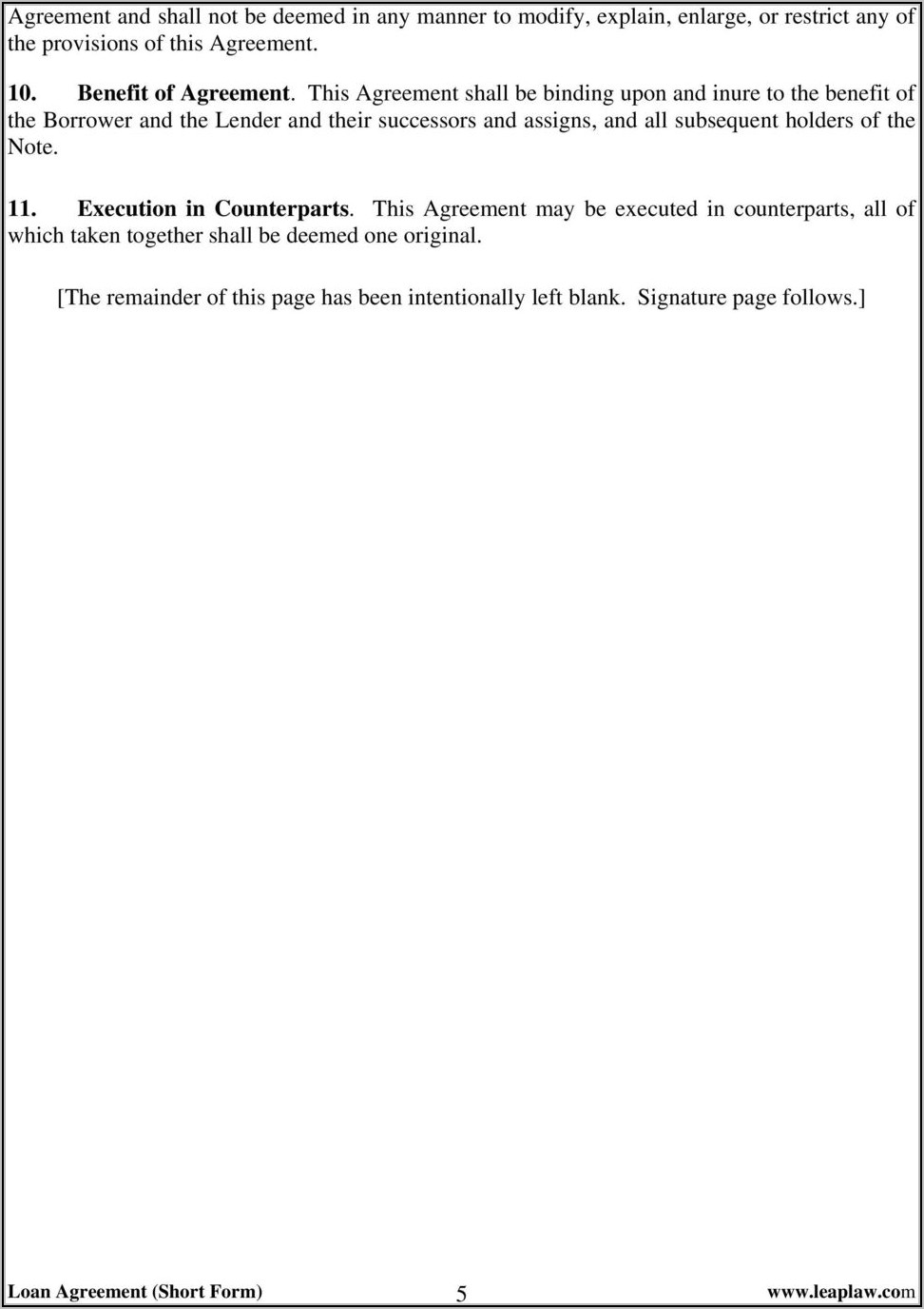 Loan Agreement Form Free Download