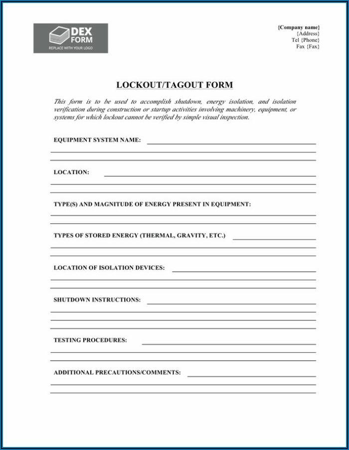 Lockout Tagout Procedure Form