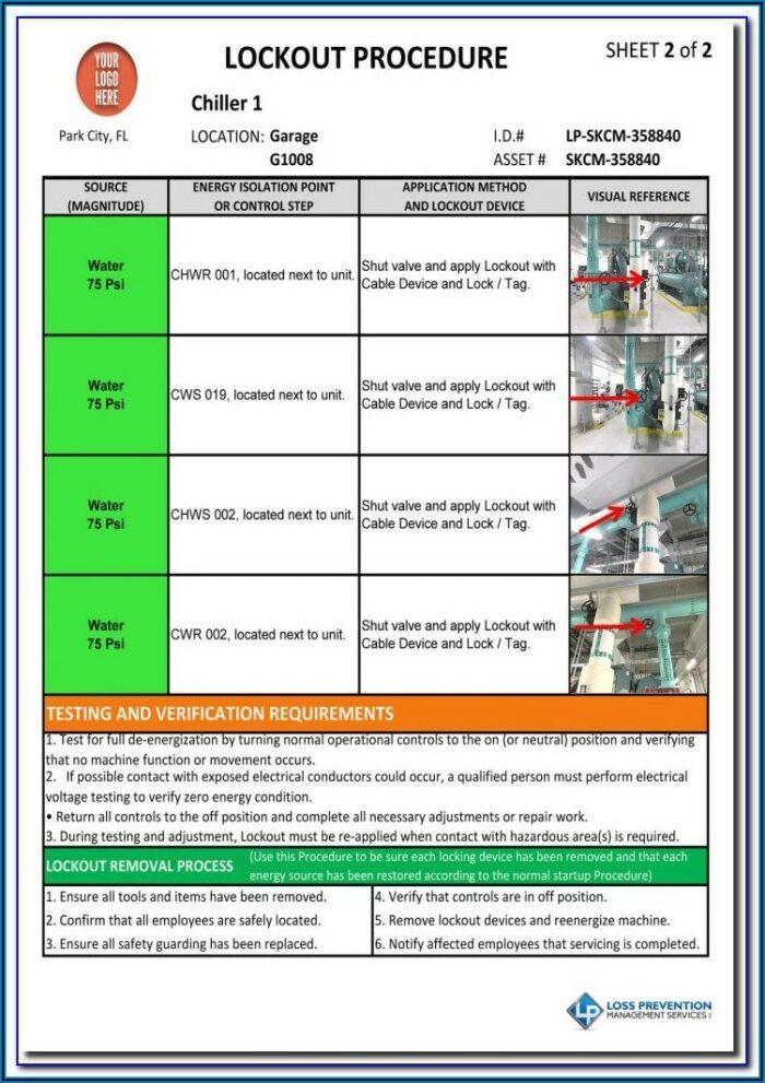 Lockout Tagout Procedure Template Excel