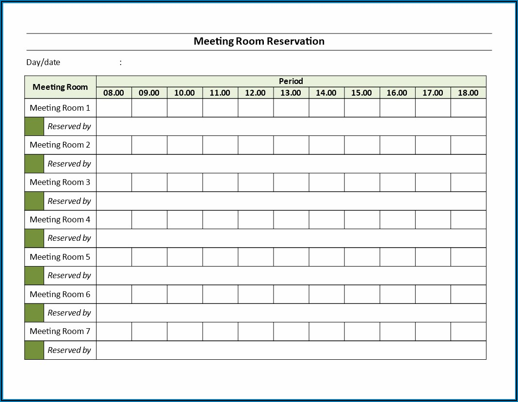 Meeting Room Booking Form Template Word