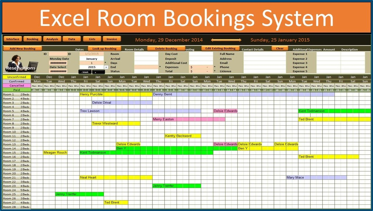 Meeting Room Booking Format In Excel
