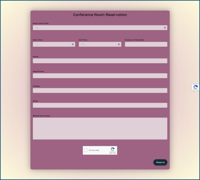 Meeting Room Reservation Form Template