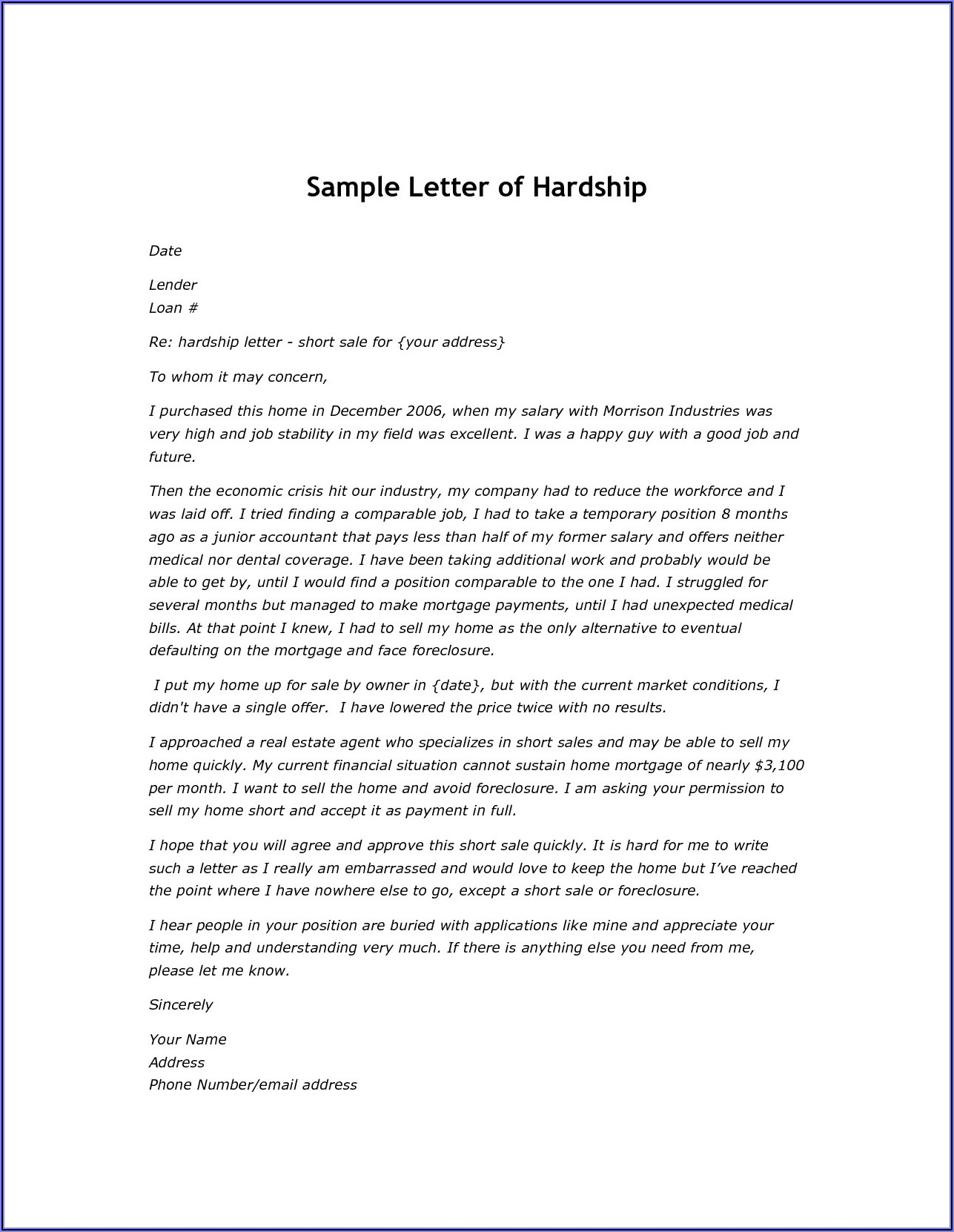 Mortgage Payoff Letter Form