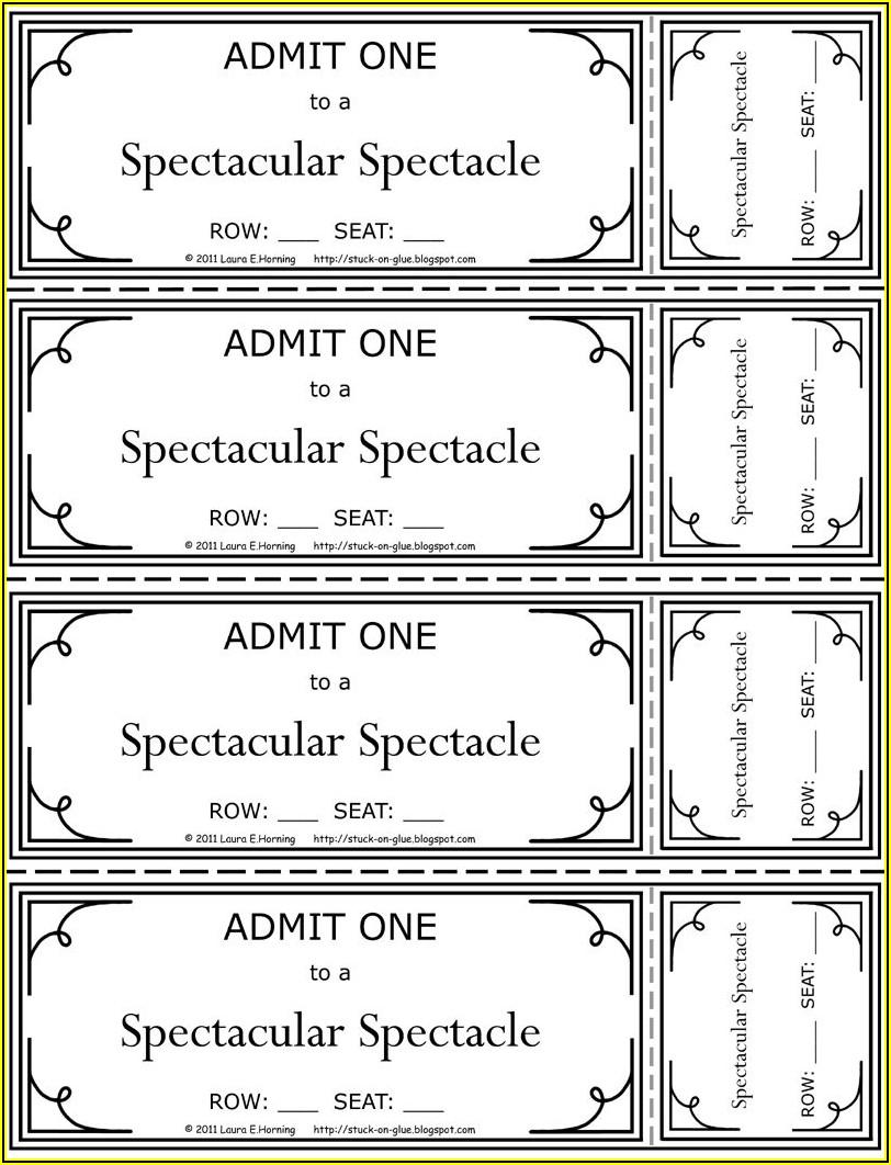 Movie Theatre Ticket Printable
