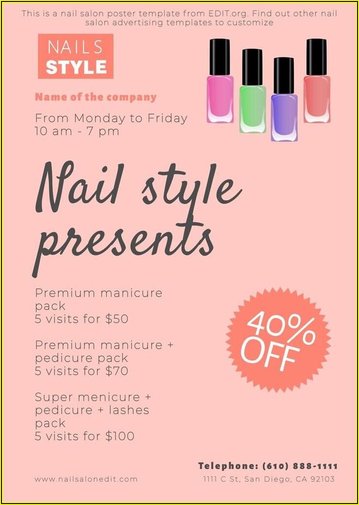 Nail Salon Service Menu Template Free