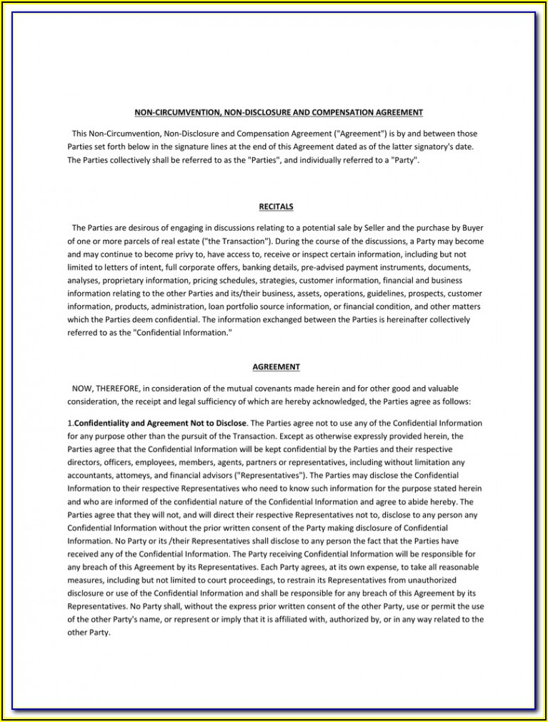 Ncnd Agreement Template Free