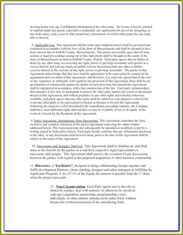 Non Disclosure Non Circumvention Agreement Sample