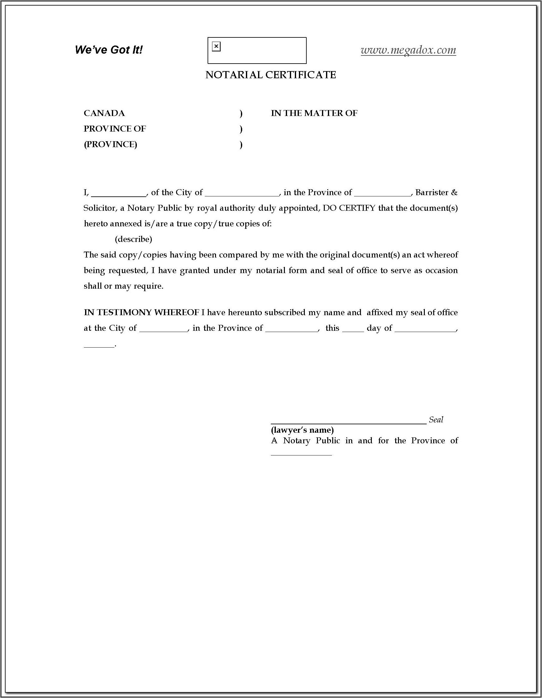 Notarial Certificate Format In India