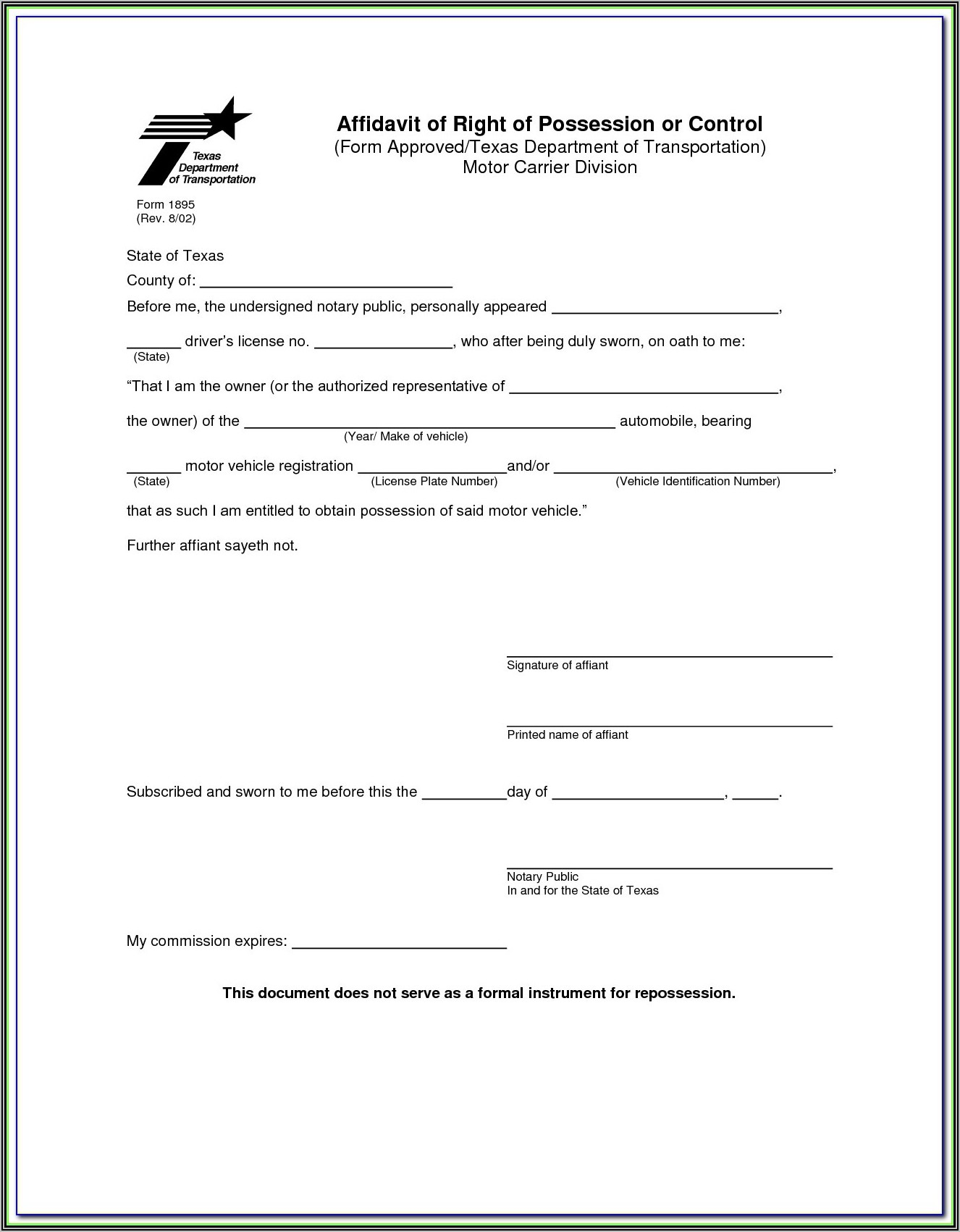 Notary Certificate Form Texas