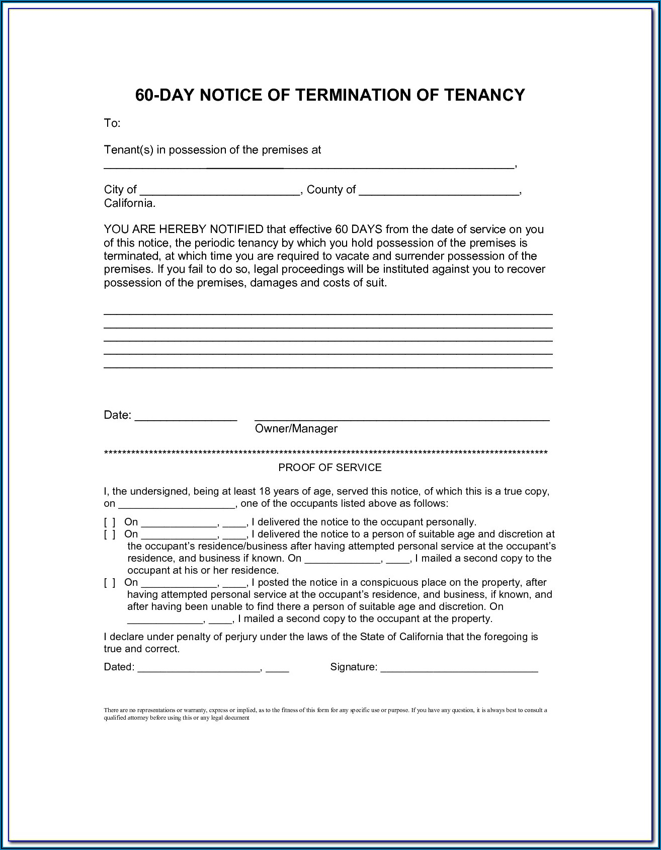 Notice To Vacate California Template