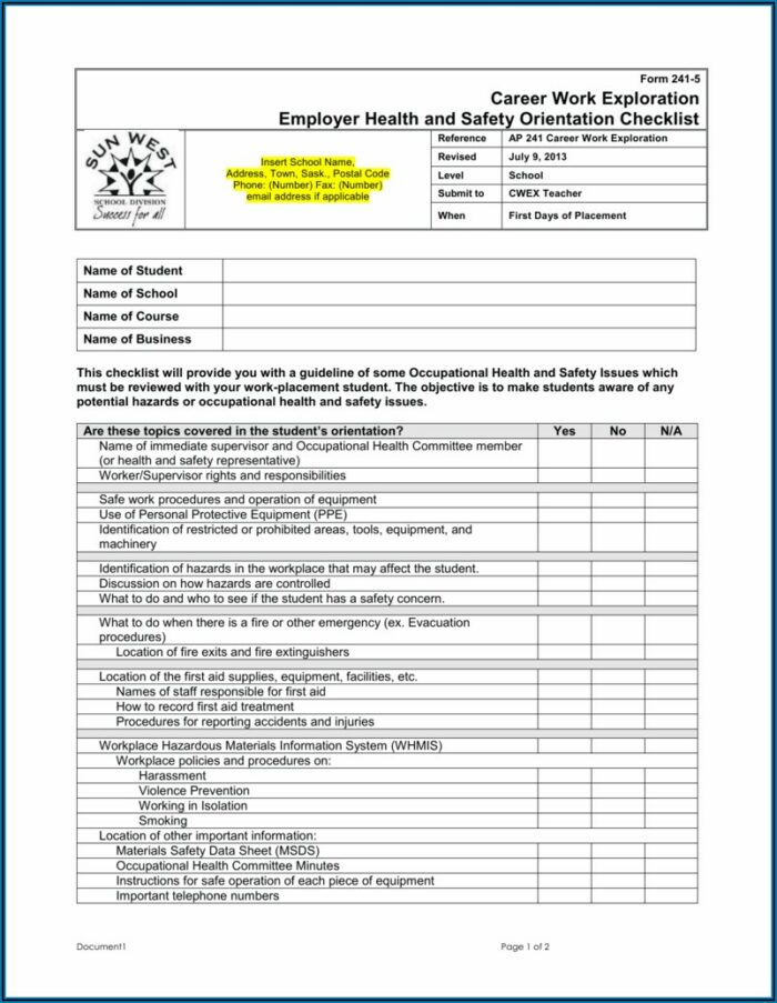 Occupational Health And Safety Application Forms