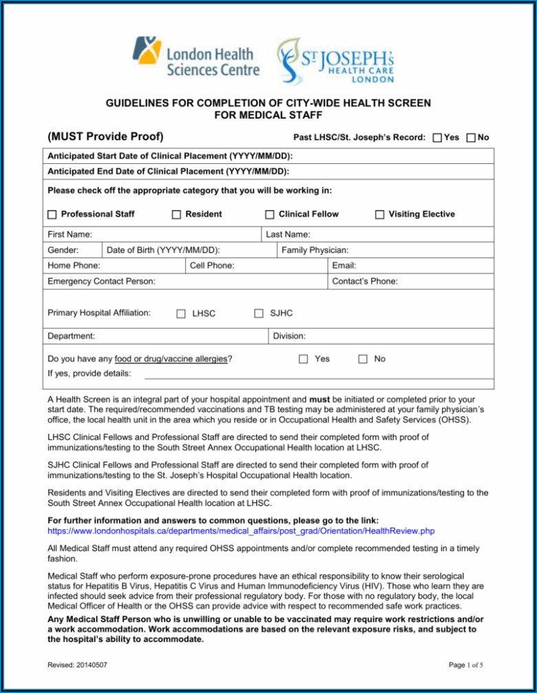 Occupational Health And Safety Appointment Forms