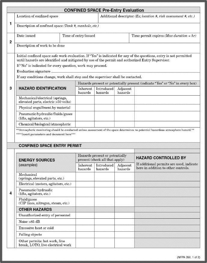 Osha Confined Space Entry Permit Form
