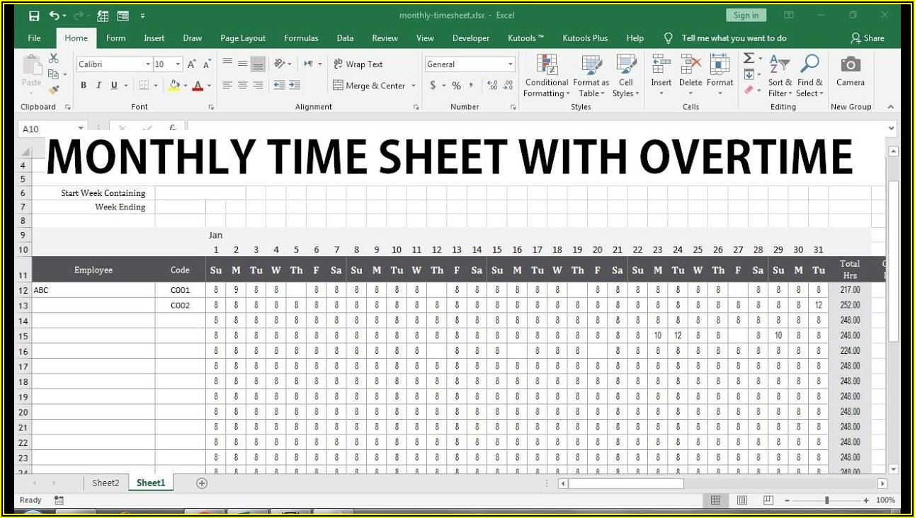 Overtime Timesheet Excel Template
