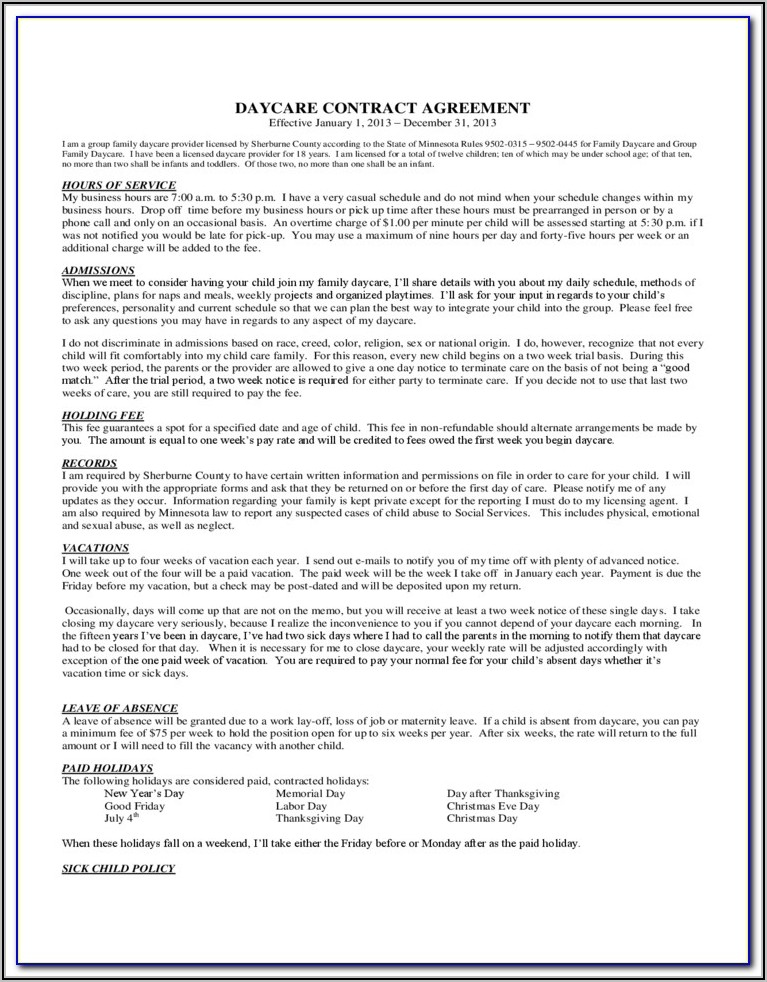 Pa Daycare Agreement Form