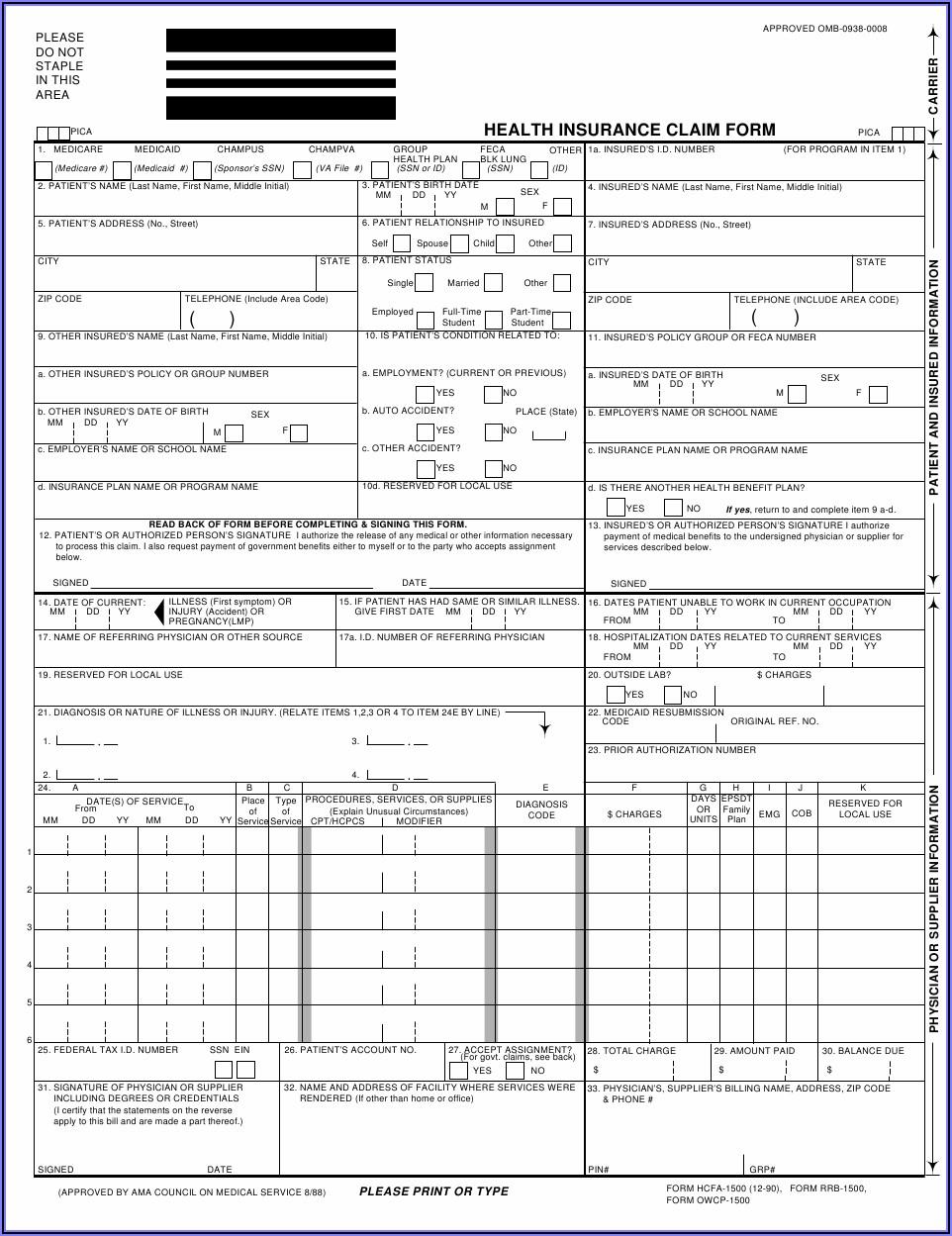 Pdf Printable Hcfa 1500 Form
