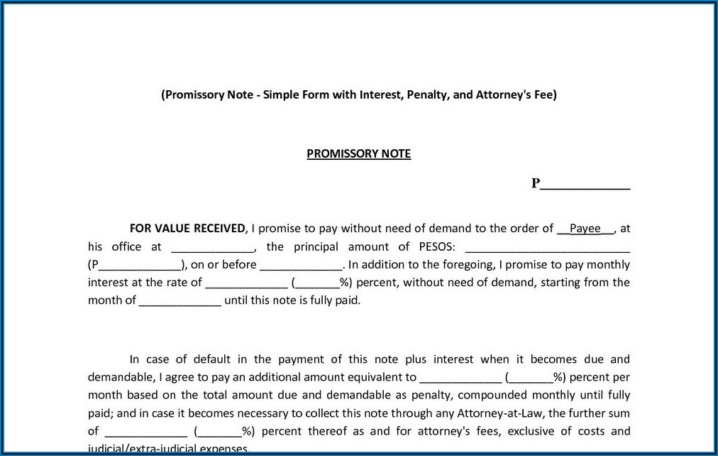 Personal Promissory Note Sample Philippines