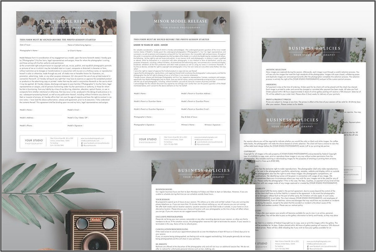 Photography Business Forms Templates