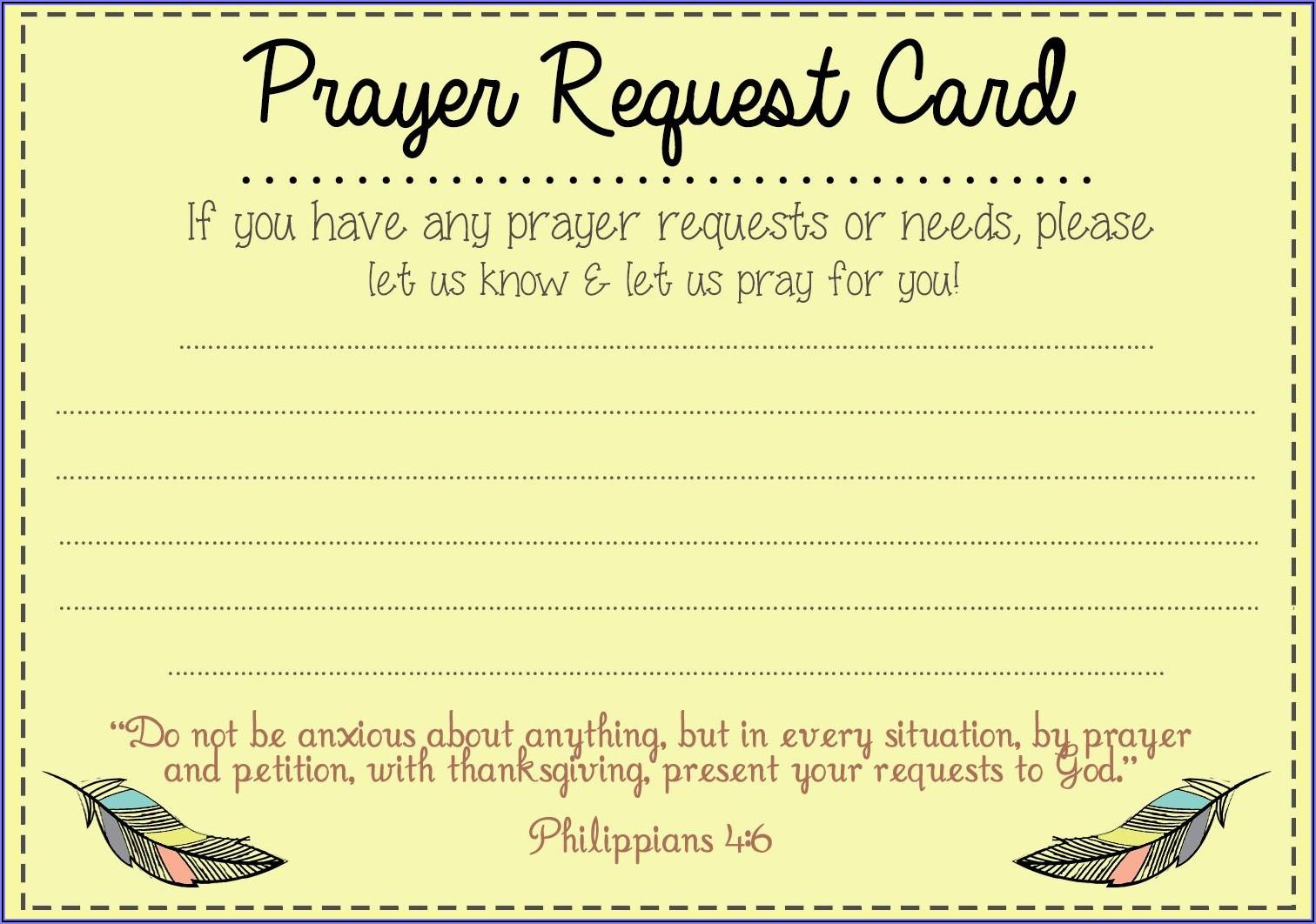 Prayer Request Form Sample